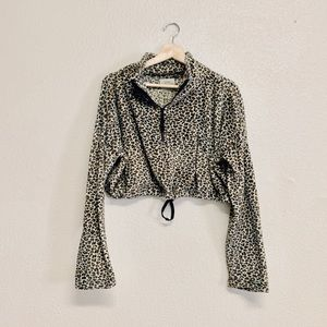 Urban Outfitters Leopard Cropped Fleece Pullover